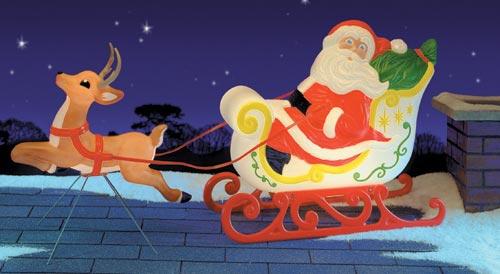 gv santa sleigh & reindeer_68in long